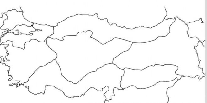 Boş Türkiye Bölgeler Haritası Boş Renksiz Yazısız