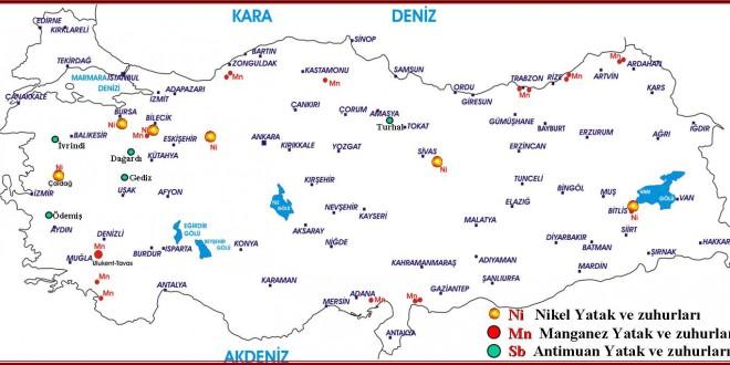 Türkiye Nikel – Mangan – Antimuan Maden Yatakları